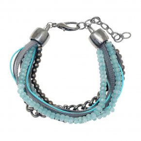 Cord Bracelet out of metal, black rhodium plated with synthetic stones - Amazona