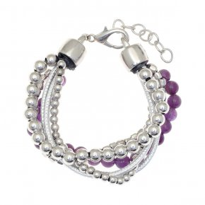 Cord Bracelet out of metal, rhodium plated withamethyst - Amazona