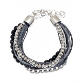 Cord Bracelet out of metal, rhodium plated withonyx - Amazona