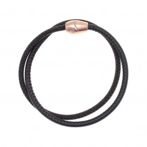 Leather Bracelet pink gold plated with magneticclasp. - My Gregio