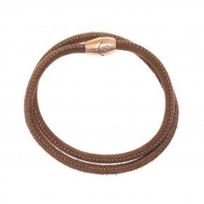 Leather Bracelet pink gold plated with magnetic clasp. - My Gregio