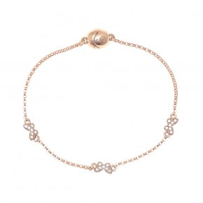 Bracelet out of metal pink gold plated with white zirconia and magneticclasp. - My Gregio