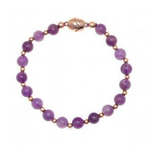 Bracelet out of metal pink gold plated with amethyst and magnetic clasp. - My Gregio