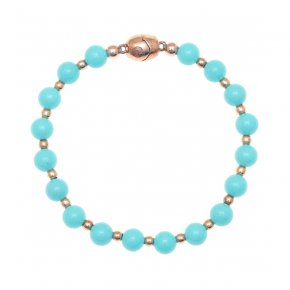 Bracelet out of metal pink gold plated with turquoise andmagnetic clasp. - My Gregio