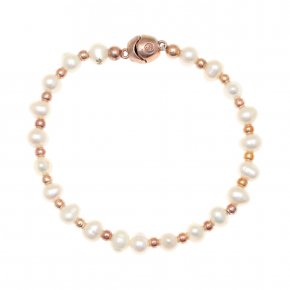 Bracelet out of metal pink gold plated with fresh water pearls and magneticclasp. - My Gregio