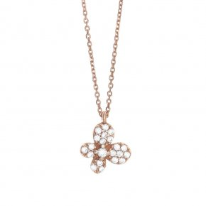 Necklace in silver 925, pink gold plated with white zirconia - Manolia