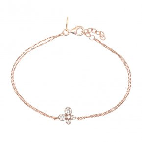 Bracelet in silver 925, pink gold plated with white zirconia - Manolia