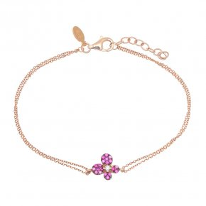Bracelet in silver 925 pink gold plated with colored zirconia - Manolia