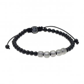 Cord Bracelet in silver 925 black rhodium plated with onyx - My Man