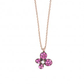 Necklace in silver 925 pink gold plated with colored zirconia - Manolia