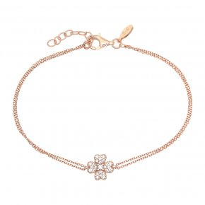 Bracelet in silver 925 pink gold plated with white zirconia - Manolia