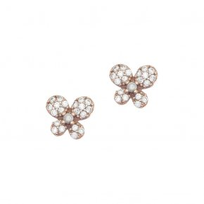 Earrings Silver 925 pink gold plated with white zirconia - Manolia