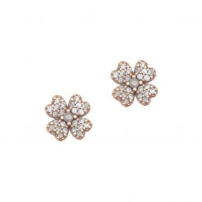 Earrings Silver 925, pink gold plated with white zirconia - Manolia