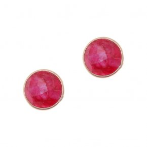 Earrings Silver 925 pink gold plated with ruby - Petra