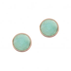 Earrings Silver 925 pink gold plated with amazonite - Petra