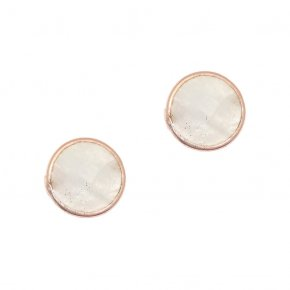 Earrings Silver 925 pink gold plated with moonstone - Petra