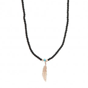 Necklace in silver 925 pink gold plated with onyx - My Man