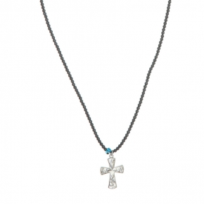 Necklace in silver 925 rhodium plated with hematite - My Man