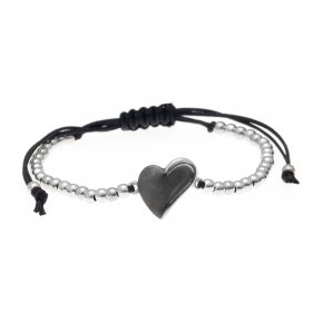 Cord Bracelet in silver 925 rhodium and black rhodium plated - METALLO