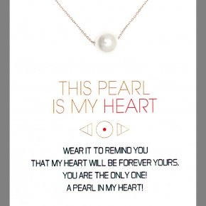 Necklace in silver 925, pink gold plated with fresh waterpearl - Gregio Wishes