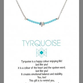 Necklace in silver 925 rhodium plated withturquoise - Wish Luck