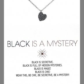 Necklace in silver 925 black rhodium plated with onyx and black spinel - Wish Luck