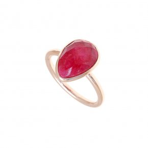 Ring Silver 925 pink gold plated with ruby - Color Me