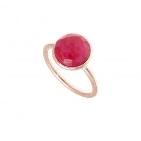 Ring Silver 925, pink gold plated with ruby - Petra