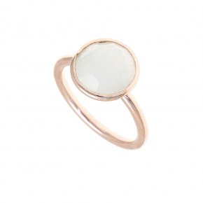 Ring Silver 925, pink gold plated with moonstone - Petra