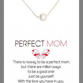 Necklace in silver 925 pink gold plated with fresh water pearl - Gregio Wishes