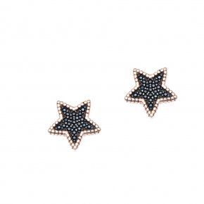 Earrings silver 925 pink gold plated with black spinels - Artemis