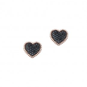 Earrings silver 925 pink gold plated with black spinels - WANNA GLOW