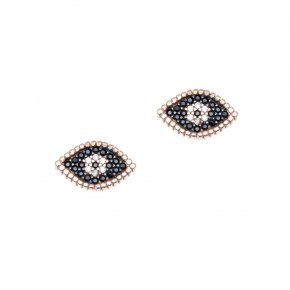 Earrings silver 925 pink gold plated with white zirconia and  black spinels - WANNA GLOW