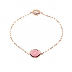 Bracelet out of metal pink gold plated with crystal and magneticclasp. - My Gregio
