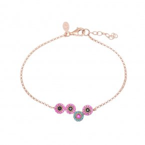 Bracelet silver 925, pink gold plated with colored zirconia - Helios