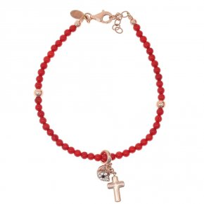 Bracelet silver 925, pink gold plated with white zirconia and redcoral - Symbola