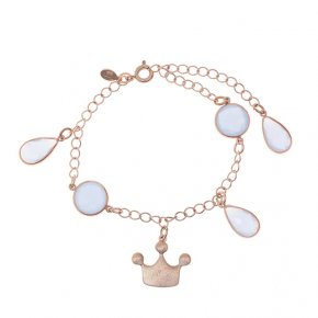 Bracelet out of metal pink gold plated with crystals - Nectar