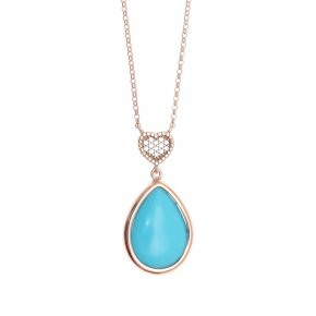 Necklace silver 925, pink gold plated with white zirconia andturquoise - Artemis