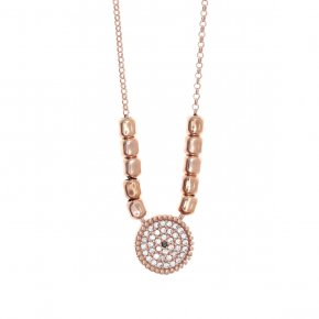 Necklace silver 925, pink gold plated with white zirconia - Artemis