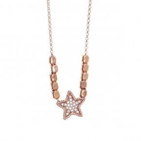 Necklace silver 925, pink gold plated with white zirconia - WANNA GLOW