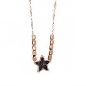 Necklace silver 925, pink gold plated with black spinels - Artemis
