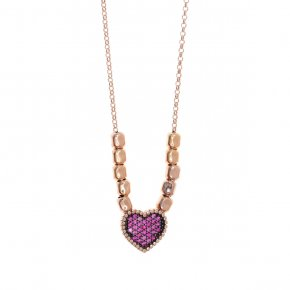 Necklace silver 925, pink gold plated with colored zirconia - Artemis