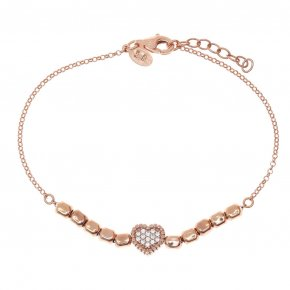 Bracelet silver 925 pink gold plated with white zirconia - Artemis