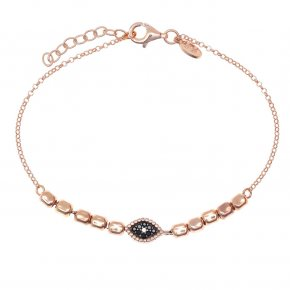 Bracelet silver 925 pink gold plated with black spinels - WANNA GLOW