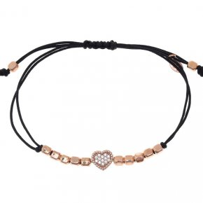 Cord bracelet silver 925 pink gold plated with white zirconia - Artemis
