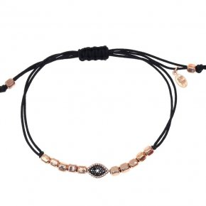 Cord bracelet silver 925 pink gold plated with black spinels - Artemis