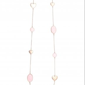 Necklace out of metal pink gold plated with crystals - Nectar