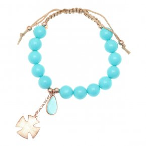 Cord bracelet out of metal pink gold plated with crystals andturquoise - Nectar