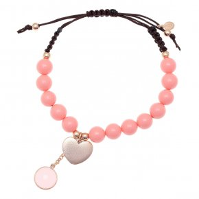 Cord bracelet out of metal pink gold plated with crystals and pinkcoral - Nectar