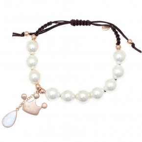 Cord bracelet out of metal pink gold plated with crystals and freshwater pearls - Nectar